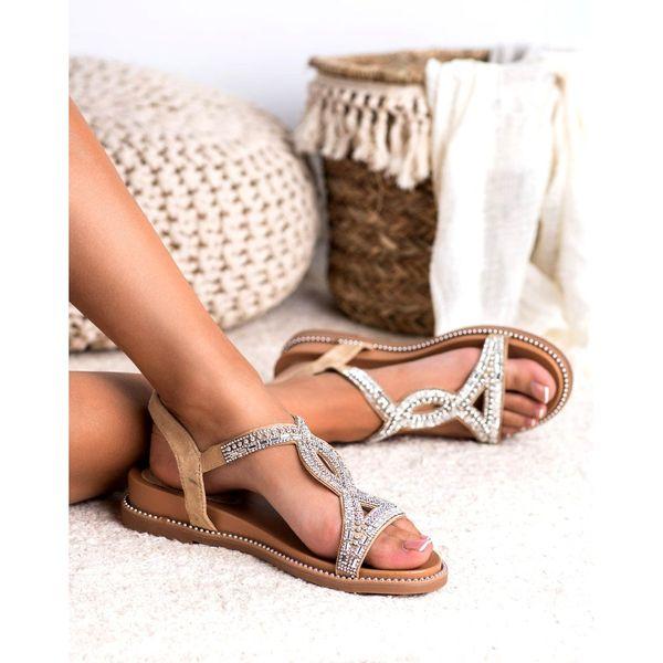 Zamszowe Sandały Z Kryształkami r.37 zdjęcie 4