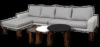 Zestaw wypoczynkowy Lafia z setem 3 stolików 323x168x81 cm