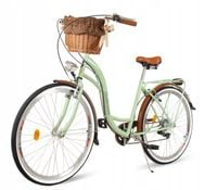 Damski rower miejski ECO DAMKA 28 Catherina miętowy, Koszyk 7BIEGÓW
