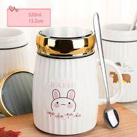 Kubek Ceramiczny Z Pokrywką i Łyżeczką - Idealny Do Szkoły - Biura - 500 ML Biały królik 500ml