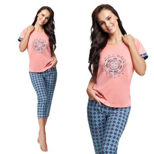 Piżama damska LUNA kod 498 łososiowa  XL