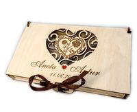 Pudełko koperta drewniana na pieniądze ślub wesele