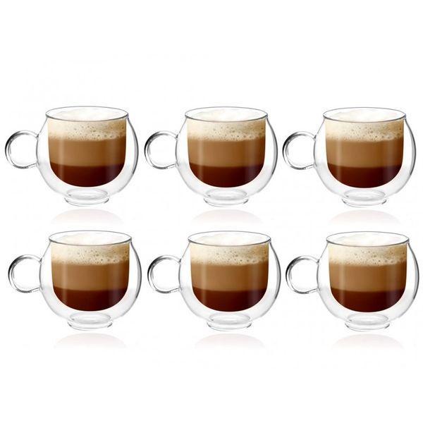 Szklanki Termiczne Kawy Cappucino 220ml Herbaty z Uchem 6 sztuk Vialli zdjęcie 1