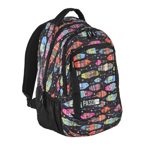 d32d501b56de7 Plecak szkolny, młodzieżowy wycieczkowy OUILL AND ARROW, kolorowe piórka  PASO (172808UA) zdjęcie