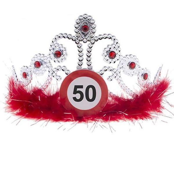 Tiara Diadem Srebrny Na 50 Urodziny Dekoracja