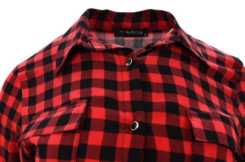 Koszula w kratę z lekkiego materiału (czerwona)