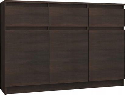 Komoda 3 szuflady 3 szafki 140cm WENGE