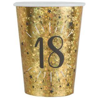 """Kubeczki papierowe """"18 urodziny - Holo Gold"""", SANTEX, 250 ml, 10 szt"""