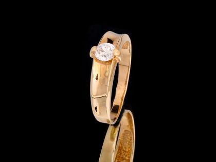 P471 Złoty pierścionek z cyrkonią 585 /Jubi