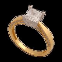 pierścionekrozmiar 12 żółte i białe złoto 585/14k z cyrkoniami