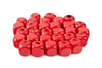 Drewniane koraliki KOSTKA 8x8mm czerwony 30szt.