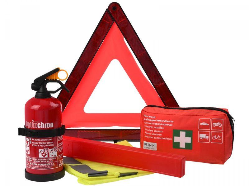 Zestaw samochodowy: Apteczka z ustnikiem DIN13164, gaśnica z wieszakiem, kamizelka odblaskowa, trójkąt ostrzegawczy zdjęcie 1