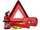 Zestaw samochodowy: Apteczka z ustnikiem DIN13164, gaśnica z wieszakiem, kamizelka odblaskowa, trójkąt ostrzegawczy