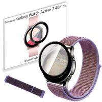 Pasek nylonowy opaska i szkło 3D do Samsung Galaxy Watch Active 2 40mm Lilac