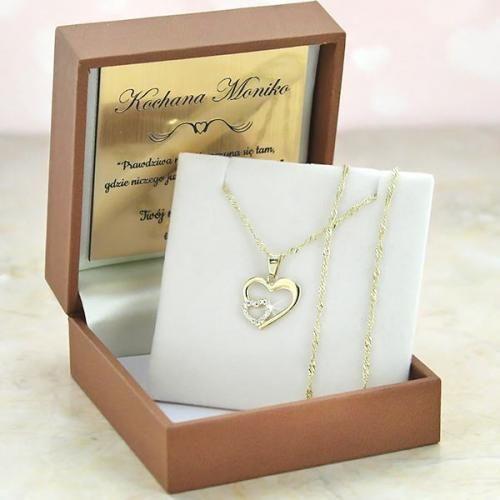 Złoty komplet 585 SERCE prezent WALENTYNKI GRAWER zdjęcie 5