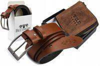 Zestaw męski skórzany pasek portfel Beltimore duży