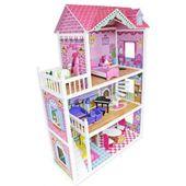 Drewniany domek dla lalek z meblami wys. 124 cm