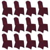 Elastyczne Pokrowce Na Krzesła, Burgundowe, 12 Szt.