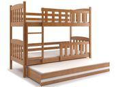 Łóżko Kubuś dziecięce piętrowe dla trójki dzieci 200x90 + BARIERKA