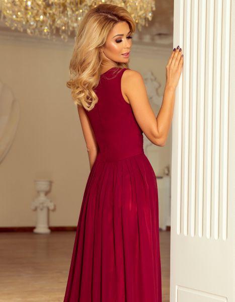 Sukienka Maxi Na Przyjęcie Wesele Bal Bordowa Na Ramiączka 166-3 L 40 zdjęcie 10