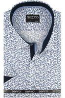 Duża Koszula Męska Sefiro biała w granatowe kwiatki na krótki rękaw Duże rozmiary K826 10XL 54 182/188