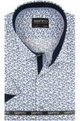 Duża Koszula Męska Sefiro biała w granatowe kwiatki na krótki rękaw Duże rozmiary K826 5XL 49 182/188 zdjęcie 1