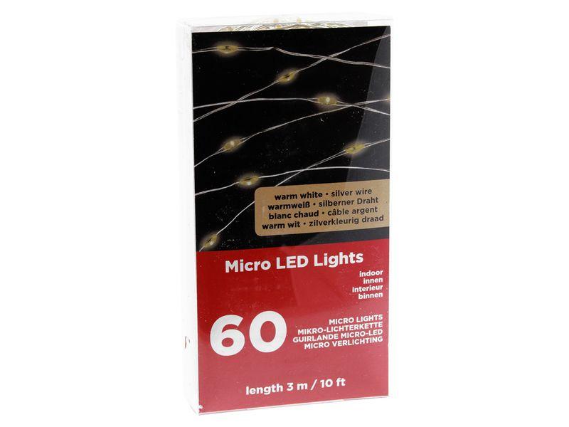 LAMPKI DRUCIKI MICRO LED Mikro 60l Ciepłe, Baterie zdjęcie 3