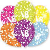 Balony 18 URODZINY cyfra BALON mix kolorowe 6 szt