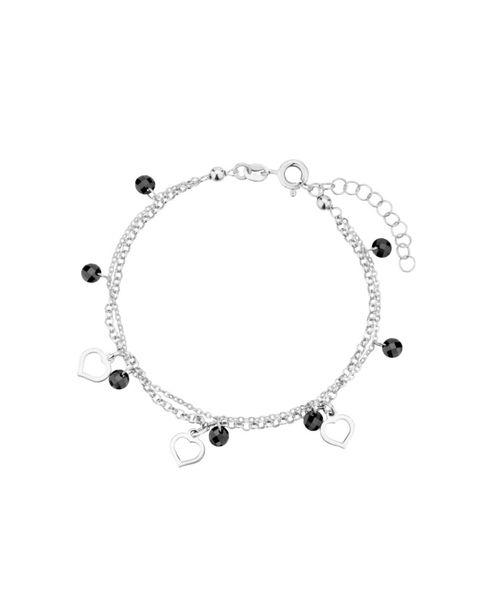 bransoletka łańcuszkowa z serduszkami srebro 925 i kryształki zdjęcie 1