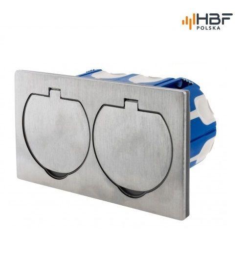 Podwójne gniazdo podłogowe IP55 aluminium szczotkowane zdjęcie 4