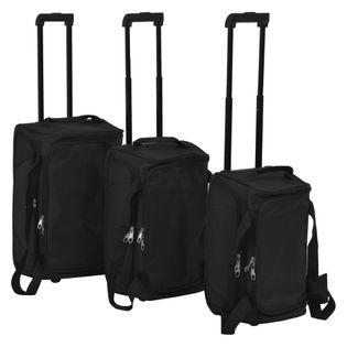 Zestaw 3 toreb podróżnych na kółkach czarny VidaXL