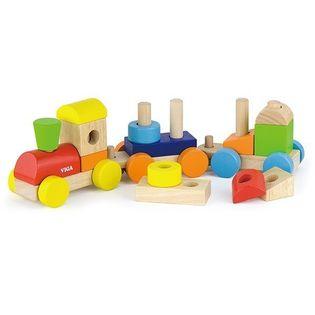 Pojazd Barwna kolejka z klockami Viga 51610
