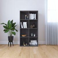 Regał na książki/szafka, wysoki połysk, szary, 66x30x130 cm