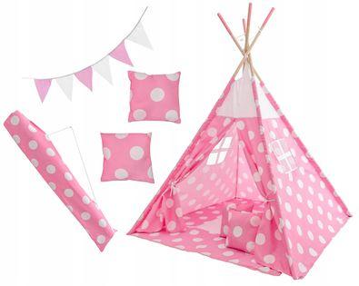 Namiot Tipi dla Dzieci Różowy w Kropki Domek