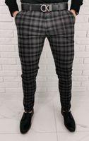 Czarno szare eleganckie meskie spodnie slim fit w krate 1572 - 32