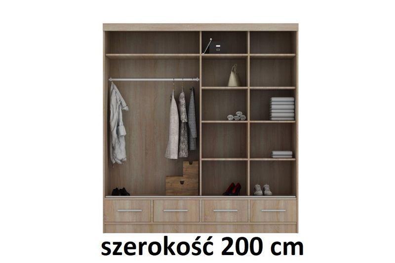 Szafa Garderoba Na Ubrania 150 Cm Połysk Szuflady Półki Drążek