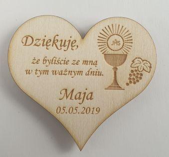 Podziękowanie Gości I Komunia Chrzest Serce Magnes z woreczkiem ozdobn