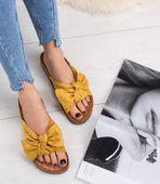 Klapki damskie z kokardą Bello Star S67 Żółte 38