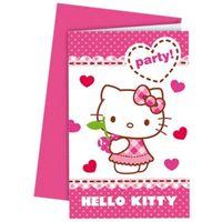 Zaproszenia urodzinowe Hello Kitty z kopertami x6