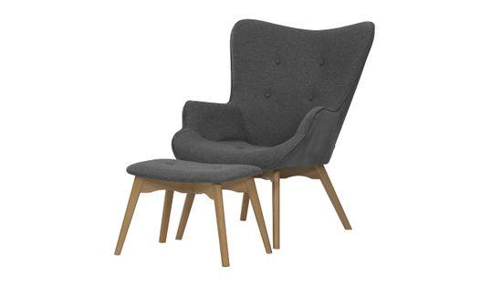 Fotel uszak z podnóżkiem Ducon Malmo-Malmo 95-jasny dąb
