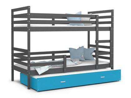Łóżko piętrowe JACEK 3 190x80 szuflada + materace