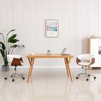 Obrotowe krzesło biurowe, białe, gięte drewno i sztuczna skóra