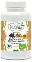 Bio kurkuma + Bio pieprz czarny (piperyna) 550mg 100 kapsułek NatVita