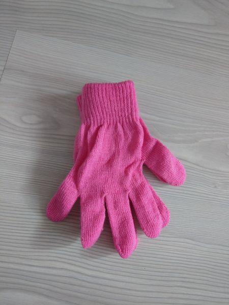 1 Kiddy rękawiczki 5-palczaste jednokolorowe różowe zdjęcie 2