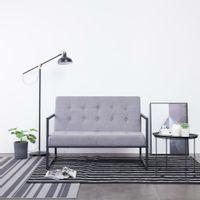 2-osobowa sofa z podłokietnikami, jasnoszara, stal i tkanina