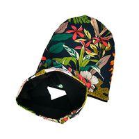 Bazik Handmade czapka + komin CZARNE KWIATY,