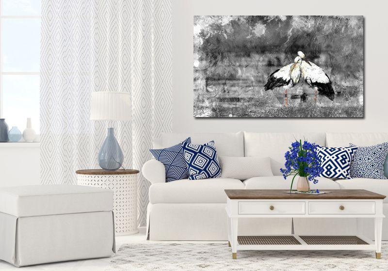 obraz xxl BOCIANY 2 - 120x70cm na płótnie ptak zdjęcie 1