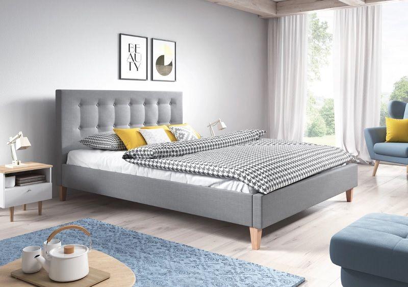 Nowoczesne łóżko Tapicerowane David 140x200 Styl Skandynawski