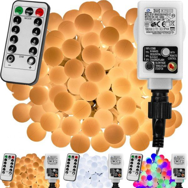 Lampki kulki świąteczne 200 LED na baterie i pilota zdjęcie 1