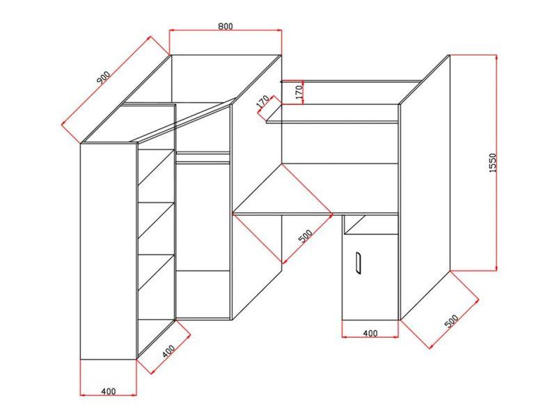 Łóżko piętrowe FIGO antresola szafki zestaw RIBES zdjęcie 11